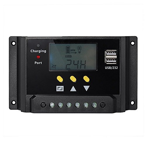Signstek Solar Panel Regler Laderegler 12V / 24V 240W/480W 30A PWM LCD Display mit Dual USB für Camper / Wohnwagen / Boot