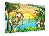 weewado Lago con i coccodrilli e scimmie giocare - 60x40 cm - Belle stampe d'arte tela textile - arte della parete - Kindermotive
