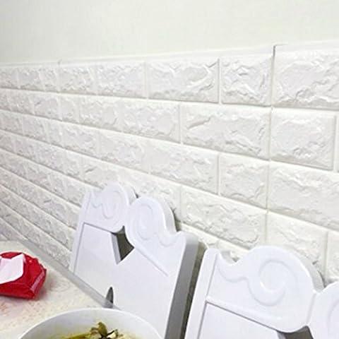 Backstein Muster 3D Schaum selbstklebende Tapete Kontakt Papier vorbereitete Tapete für Wandaufkleber Selbstklebendes abziehbares Schale (70cm * 31cm * 10mm; 8 Farbe) (Gefälschte Brick)