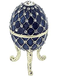 Juliana Blue Treasured Trinket Faberge-Style Egg Jewellery Box