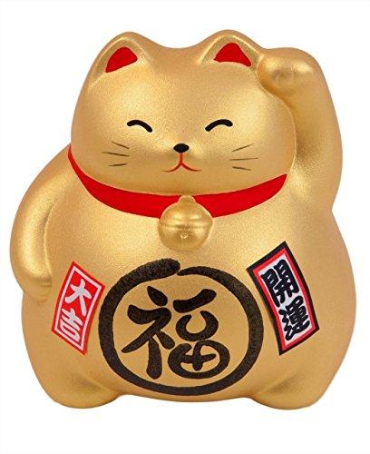 Hucha con diseño de gato grande Maneki Neko, 100{5fba01799a75235e391be63f130973ee3b45bb1c3c7d0df053e0b7f1d4a30a0f} japonés, diferentes colores disponibles, cada uno con su simbología, dorado