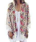 Relipop Women's Sheer Chiffon Blouse Loose Tops Kimono Floral Print Cardigan (Large, Beige)
