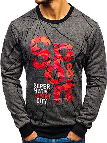 BOLF Herren Sweatshirt ohne Kapuze mit Aufdruck Rundhalsausschnitt Pullover Sport Style J.Style 22018 Dunkelgrau L [1A1]