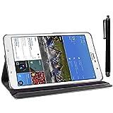 ebestStar - für Samsung Galaxy Tab Pro 8.4 SM-T320 [Genaue Abmessungen Ihres Geräts : 219 x 128.5 x 7.2 mm, bildschirm 8.4''] - Hülle mit Klappe aus Kunstleder und um 360° drehbarem Ständer + Stilett, Farbe Schwarz
