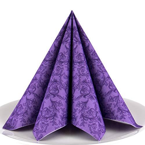 Servietten Ornament lila Premium Airlaid, STOFFÄHNLICH | 50 Stück | 40 x 40cm | Hochzeitsserviette | hochwertige edle Serviette für Hochzeit, Geburtstag, Party, Taufe, Kommunion | made in Germany