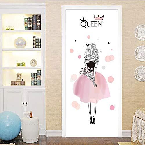 (XIAOXINYUAN 3D Tür Aufkleber DIY Abnehmbare Wasserdichte Cartoon Mädchen Wandaufkleber Wandbilder Tapete Für Schlafzimmer Hause Weihnachten Decor Stil 3)