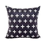 Kissenbezug, modern, minimalistisch, gestreift, geometrisches Muster, 45 x 45 cm, Heimdekoration, schwarz und weiß, von Cuigu, Nr.1, Einheitsgröße