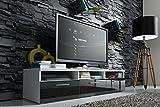 Meuble TV LAVELLO avec LED/ Cabinet pour la TV/ (blanc/ fronts noir brillant)