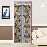 FUYA New Butterfly Magnetischer Tür Bildschirm Mesh Sheer Tür Vorhang Mosquito Net Insekten Magic Mosquito Vorhänge, Durchsichtig, weiß, 90X210CM