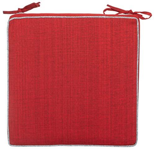 Brandsseller Outdoor Garten Sitzkissen Auflagen Kissen mit Paspel - Leinenoptik Uni - Schmutz- und Wasserabweisend mit Befestigungsbändern - 40 x 40 x 4 cm - Einzeln - Rot