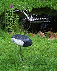 Therese stehend Gartenfigur und Gartendeko als Steinvogel aus Edelstahl und Stein ca 35 cm hoch Design Tiedemann