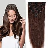S-noilite® Extensiones de clip de pelo natural cabello humano #04 Marrón medio - 100% Remy hair – 8 piezas 18 clips (40cm - 65g)