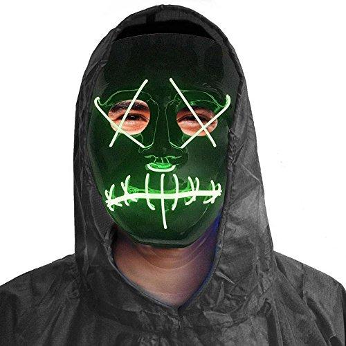 iBaste Licht leuchten Maske Kostüm EL LED Draht Halloween Maske Masquerade