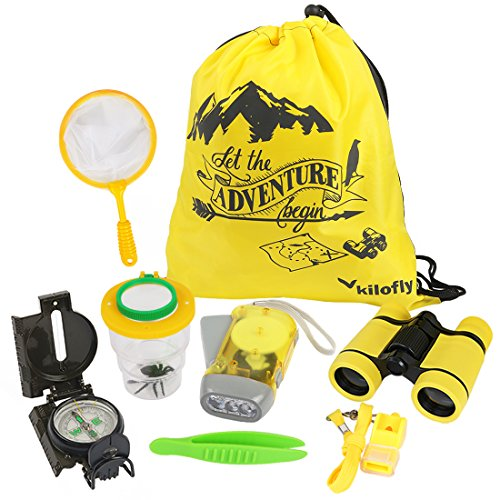 kilofly 8-in-1 Kinder Natur Explorer Kit Fun Hinterhof Bug Fangen Adventure-Pack (Für Vogelbeobachtung Hinterhof Kinder)