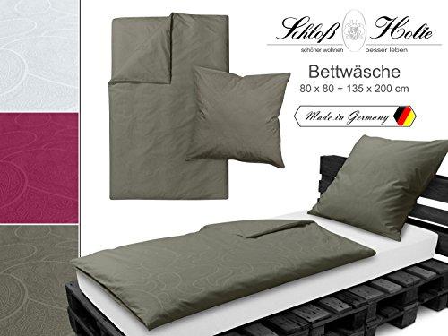 Hochwertige Damast-Bettwäsche der Premiummarke Schloß Holte von Wülfing - aus 100% Baumwolle - mit gewebtem Paisleymuster - unifarben - made in Germany - erhältlich in 3 Farben und 2 Größen, taupe, ca. 80 x 80 + 135 x 200 cm (Damast-beige-bett-decke)