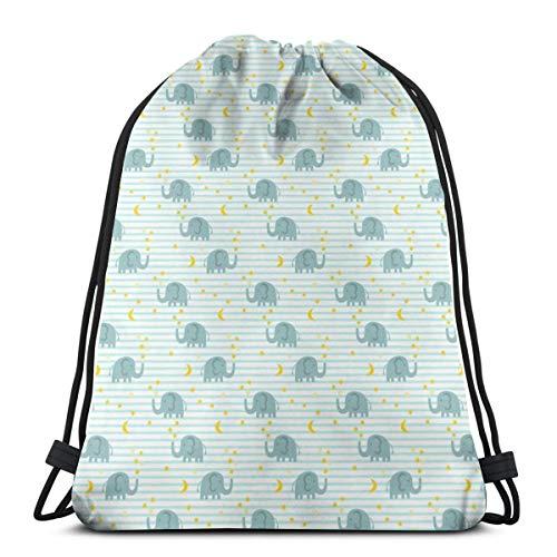 best pillow Elephant and Stars - Light Blue_10531 3D Print Drawstring Backpack Rucksack Shoulder Bags Gym Bag for Adult 16.9