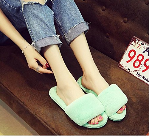 Traders 5, 7 : Fluffy Fur Women Slippers Fashion Slides Women Plush Winter Shoes Casual Shoes Flats Home slippers Chaussure Femme k307