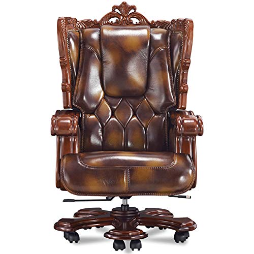 XUE Luxury Boss Chair Leather, Solid Wood Executive Chair President President Chair Reclining Computer Chair Home Managerial Chair with Armrest with Adjustable Height Recline Function -