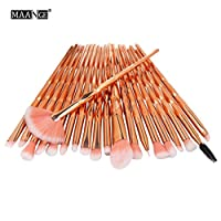 Saingace 20PCS/Set Makeup Brush, 20PCS Make Up Foundation Eyebrow Eyeliner Blush Cosmetic Concealer Brushes (B)