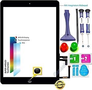 Premium? Touchscreen Glas Digitizer für Apple iPad Air / iPad 5 Komplett - Display Glass, Komplett mit Flexkabel, Homebutton - Schwarz inkl. Best NANO Profi 8-in-1 Werkzeugset - SCHWARZ BLACK - NEU