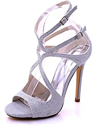 L@YC Women's High Heel D7216-06C Bridesmaid Wedding Court Shoes Sizes Open Toe Sandals Prom