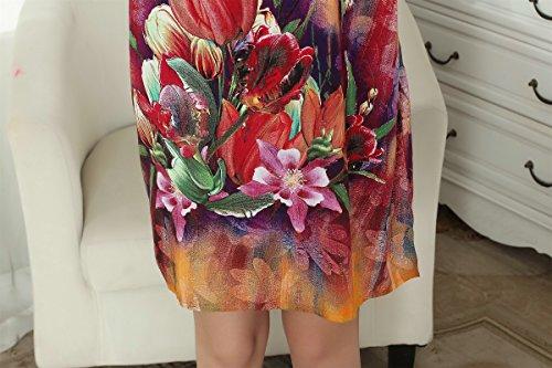 ACVIP Vestagli Donna a Fiori Stampa a Maniche Pipistrello Taglia Unica Colore 18