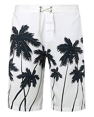 Alicemall-Baador-Estampado-Palmeras-Pantalones-Cortos-para-Hombre-XL-Blanco