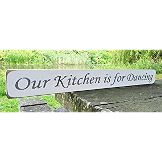 Large Wooden Sign OUR KITCHEN IS FOR DANCING Plaque Gift KITCHEN LIVING ROOM DECOR Handmade By Vintage Product Designer Austin Sloan
