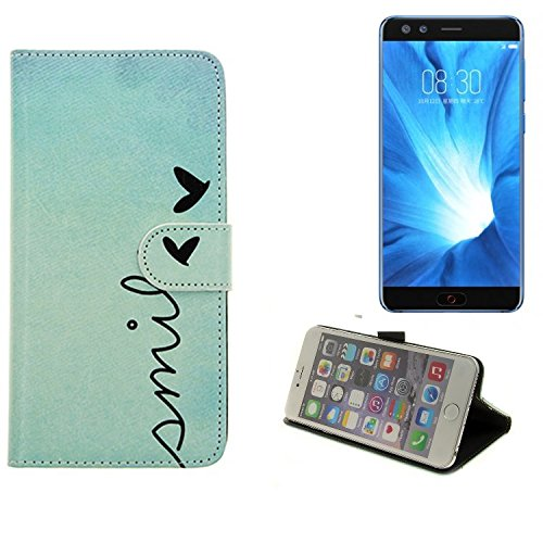K-S-Trade® Für Nubia Z17 Mini S Wallet Case Schutz Hülle Flip Cover Tasche ''Smile'', Türkis