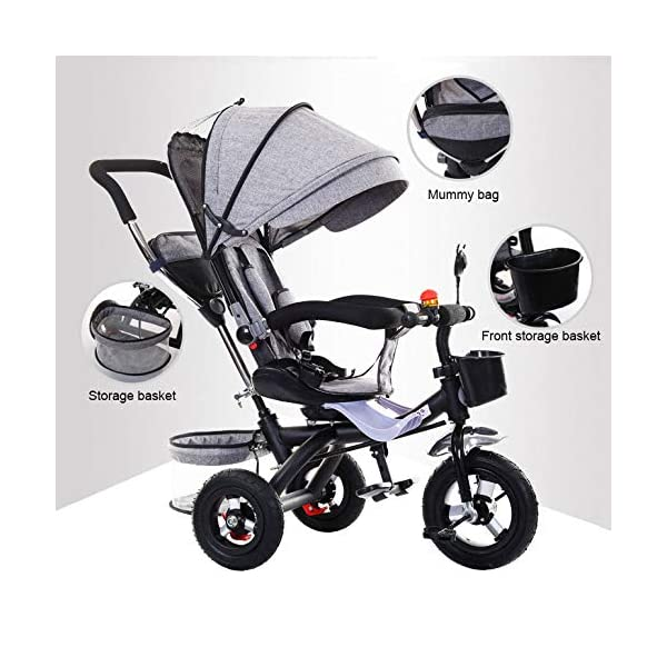 BGHKFF 4 In 1 Kids' Trikes 6 Months To 5 Years 360° Swivelling Saddle Pram Easy To Assemble Adjustable Push Handle 5-Point Safety Belt Folding Sun Canopy Childrens Tricycles Maximum Weight 25 Kg,Grey BGHKFF ★Material: Steel pipe, suitable for children from 6 months to 5 years old, the maximum weight is 25 kg ★ 4 in 1 multi-function: can be converted into a stroller and a tricycle. Remove the guardrail and awning as a tricycle. ★ Baby tricycle with 360° swivel seat, baby can face parents, easy for parents to take care of the baby, detachable and adjustable sunroof to provide maximum comfort for your child. 9