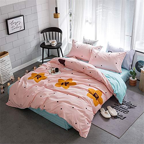 YUNSW Bettbezug Süße Doppel Königin King Size Baumwolle Weiche Faser Reaktive Drucke Bettwäsche Set C 150x200 cm -