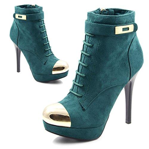 Heels mit Elegante Metallic Stilettos Lederoptik Damen Reißverschluss Plateau Pumps in Grün High 0wqt7Oq