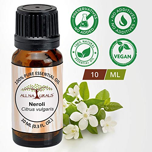 All Naturals Neroli Essential Oil (Italy) aka Orange Blossom Oil 100% Pure for Clear Face, Glowing Skin, Sound Sleep & Diffusers