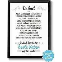 BESTER VATER – Geschenkidee Weihnachten Bild A4 – optional mit Rahmen – Geschenk für Deinen Papa zum Geburtstag Hochzeitstag Vatertag