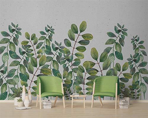 WAHAZC Tapete Hintergrundbild 3D Wallpaper Nordic Kleine Frische Grüne Blätter Aquarell Stil Einfache Fernseher Wohnzimmer Schlafzimmer Benutzerdefinierte Hintergrund Wand, L250 * W175Cm -