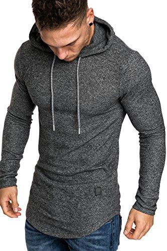 Amaci&Sons Herren Oversize Melange Kapuzenpullover Hoodie Sweater Pullover Sweatshirt 4027 Anthrazit Melange M