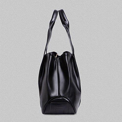 DELEY Frauen Europa Stil Groß Weiches Leder Totes Schulranzen Umhängetasche Handtasche Schwarz