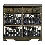 Rebecca Mobili RE4269 Commode avec 8 tiroirs, Bois et Osier, Marron, Style Shabby Country, 66 x 72 x 30 cm