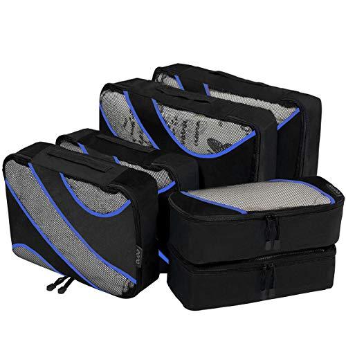 Eono Essentials 6 Set cubes d'emballage, 3 différentes tailles Organisateurs d'emballage bagages Voyage Noir