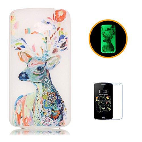 CaseHome LG K5 Luminous Hülle (Mit Frie Displayschutzfolie) Leuchtende Silikone Rückhülle Für iPhone 6 6s Plus 5.5 Zoll Zoll Silikon Etui Handy Hülle Weiche Transparente Luminous TPU Back Case Tasche  Aquarell Hirsch