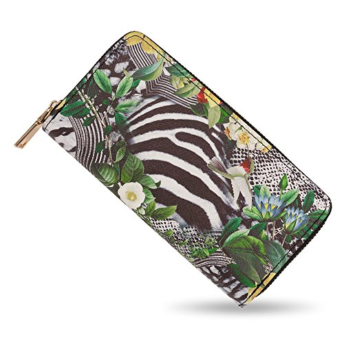 bluzelle Billetera Cartera de piel sintético, Monedero larga tarjetero con bolsillo para teléfono móvil por ej. iPhone Samsung, con cremallera para monedas y tarjetas, Designs:Zebra Flowers