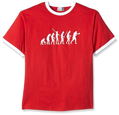 Coole-Fun-T-Shirts T-Shirt Boxen Evolution ! Ringer, rot, L, 10762_rot-Ringer_GR.L -