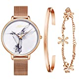 Kaifanxi Damen Quarz Armbanduhr elegant anmutig Vogel im Zifferblatt mit Geschenk Armband für Damen Saphirglas und Poliertes Edelstahl Webe Band