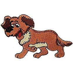 Toppe termoadesive - cane animale bambini - marrone - 9,7x6cm - Patch Toppa ricamate Applicazioni Ricamata da cucire adesive