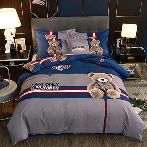 yaonuli Reine Baumwolle aktive ökologische verdickung Schleifen Vier stück Baumwolle warm Love Bear 1,5 m / 1,8 m Bett = 200 * 230 cm