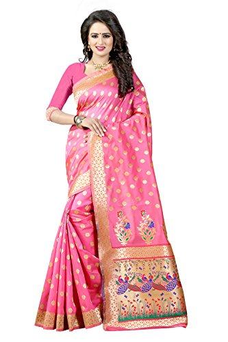 Shree Sanskruti Women's Tussar Silk Saree With Blouse Piece (Paithani 1 Light...