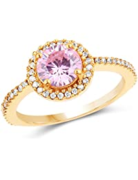 Johareez Gold Plated Fashion Statement Pink Solitaire Cubic Zirconia Ring For Women
