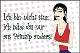 Coole Frauen Sprüche Schild -939s- Nicht stur 29,5cm * 20cm * 2mm, mit 4 Eckenbohrungen (3mm) inkl. 4 Schrauben