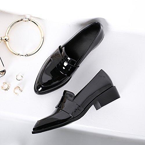 Xue Qiqi Court Schuhe Schuh Rau mit Den Britischen Stil Lackschuhen mit Einem Spitzen Kleinen Schuhe Frauen Flache Schuhe, 34, Schwarz