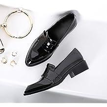 f6e30000ab7766 Xue Qiqi Court Schuhe Schuhe Rau mit Den Britischen Stil Lackleder Schuhe  Frauen mit Spitzen Kleinen